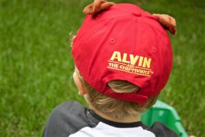 Cute Alvin baseball cap from behind