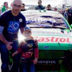 Daddy and Indy pose in front of Mark Winterbottom's Bottle-O V8 Supercar
