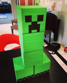 minecraft party creeper knockdown challenge