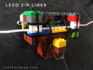 Home-made LEGO zip-line pulley