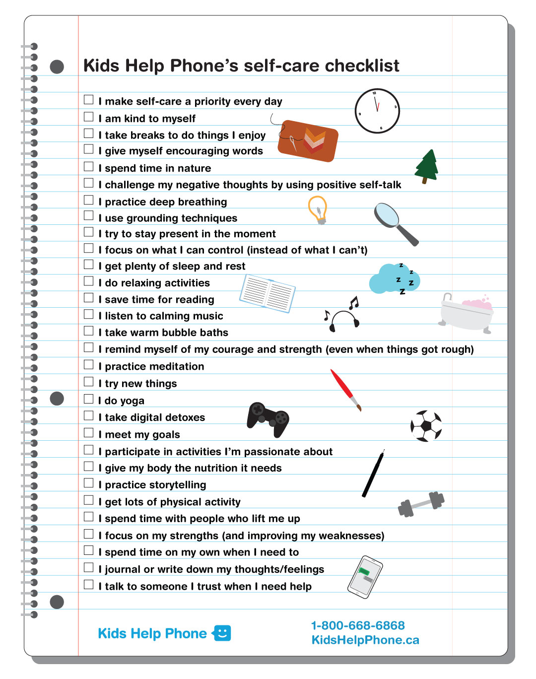 Kids Help Phone S Self Care Checklist
