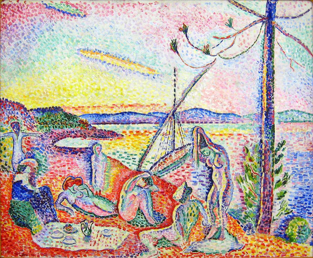 """Henri Matisse - """"Lujo, calma y voluptuosidad"""" (1904, óleo sobre lienzo, 95 x 118cm, Museo d'Orsay, París) Matisse pintó esta obra en Saint-Tropez, durante el verano de 1904. Había ido allí a pasar las vacaciones con a su amigo Paul Signac, el pintor puntillista, que fue quien acabaría comprando el cuadro. Influido por Signac, Matisse utilizó una técnica pseudo-puntillista, es decir, un puntillismo """"a su aire"""". Las pinceladas son demasiado grandes para mezclarse en la retina del espectador (comparadlas, por ejemplo, con las de los cuadros de Seurat: http://bit.ly/1CfrLHY) y las figuras están delimitadas por líneas, en vez de puntos. Además, colorido que utiliza es demasiado vivo y estridente. Por este último motivo, este cuadro está considerado como una de las primeras obras del Fauvismo (http://bit.ly/1sSEzNN). El título alude a uno de los versos del poema """"La invitación al viaje"""" de Charles Baudelaire: """"Là, tout n'est qu'ordre et beauté / Luxe, calme et volupté."""" (Allí todo es orden y belleza / lujo, calma y voluptuosidad.). Y el tema es una reinterpretación del clásico paisaje idílico con bañistas, que llevaba pintándose desde el Renacimiento. Sin embargo, Matisse añade pequeños detalles que lo convierten en una escena contemporánea: la jarra que hay sobre el mantel, el hombre calvo vestido (que parece un fauno-voyeur) o la gorra de capitán que lleva puesta una de las chicas,l. Es una visión nostálgica y moderna de la mítica Arcadia, cuyos habitantes se pasaban los días vagueando en el campo, bañándose, cantando, comiendo, bailando y """"queriéndose"""" unos a otros, sin tener que preocuparse por nada. Yo me apuntaría encantada."""