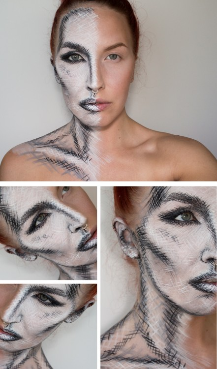 Sketch-like makeup for Halloween