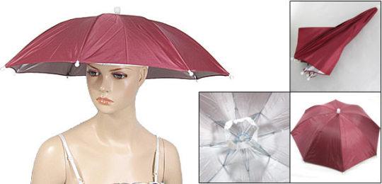 頭に取り付ける傘
