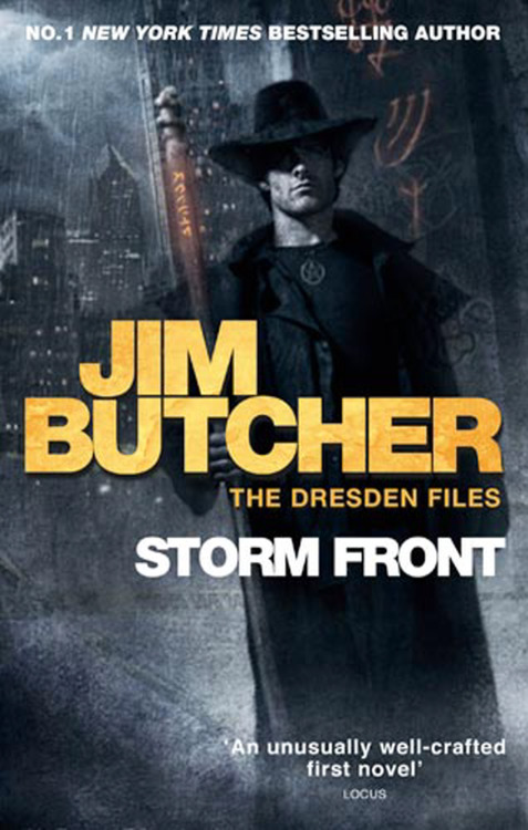 Storm Front by Jim Butcher I've owned a  copy of this book for like a thousand years. A good friend recommended  the series to me way back when there were a quarter as many books as  there are now. And just think, had I taken his advice to heart I would  have just gobbled down the latest book, not the first. Ah well such is  life sometimes. This is most defiantly the year of reading all the old  books I never touched for one reason or another. So  way back when, I had a hard time getting into the first book let alone  the whole series. I'm not even really sure why in all honesty, but I'm  glad that I gave it another go because wow! This book was go-go-go from  the very beginning. It's like it never stopped to breathe. Sometimes I  think I stop to breathe too much in my books, and this was the extreme  opposite. It was refreshing, I laughed, I was shocked at one point, I  was kept wondering page after page. I read that this was Jim Butcher's first novel and all I have to say is how impressed I am. Everything comes back around. I know  this is an extra short review. Sometimes that's just life. I did start  book two today, so maybe there will be a bit more depth to that review.  Until next time.