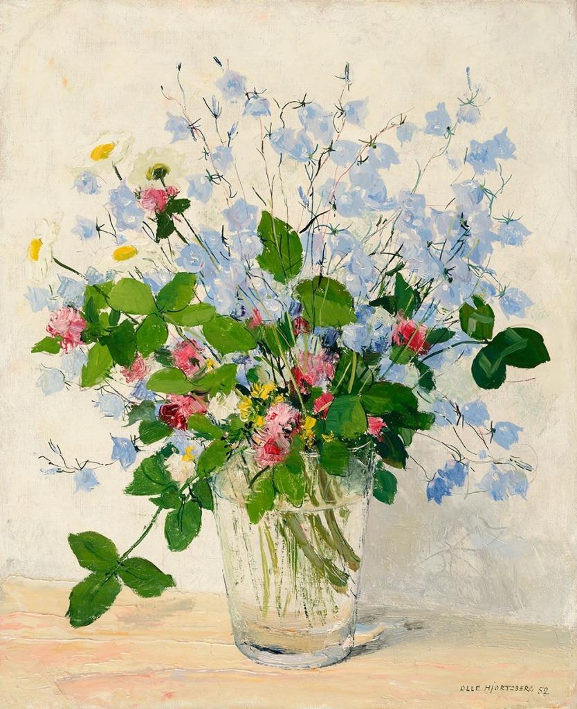 huariqueje:  Meadow Flowers  -    Olle Hjortzberg   1952. Swedish 1872-1859 © Patric Evinger /  Åmells art trade