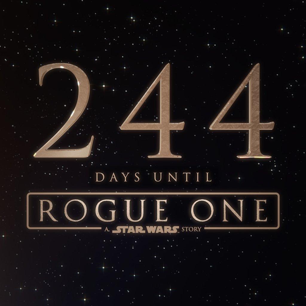 244 days until Star Wars: Rogue One. #StarWars #RogueOne https://t.co/5kXyTkFzfp@StarWarsCount