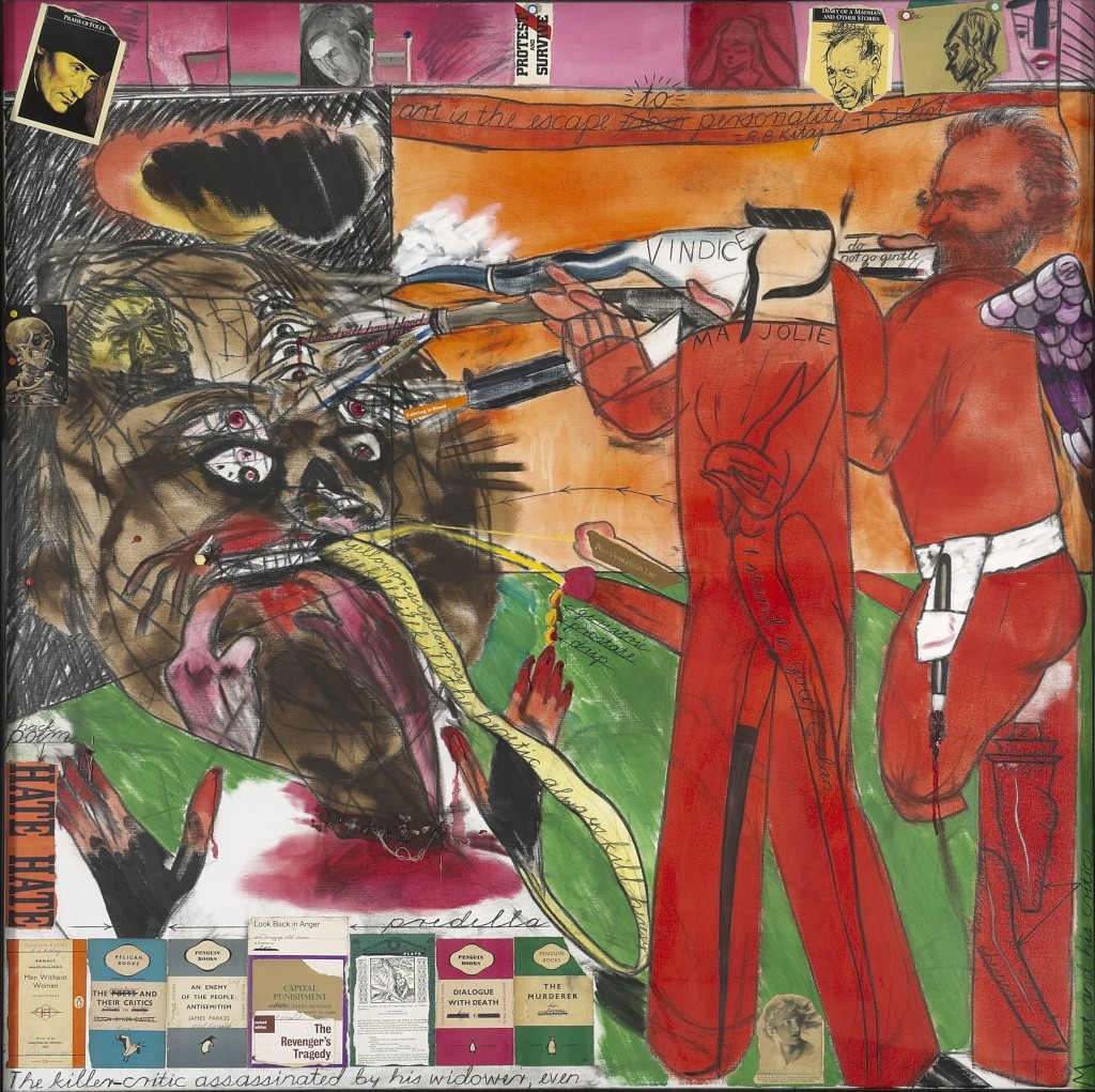 thunderstruck9:  R.B. Kitaj (American, 1932-2007), The Killer-Critic Assassinated by his Widower, Even, 1997.Oil and collage on canvas, 152 × 152 cm