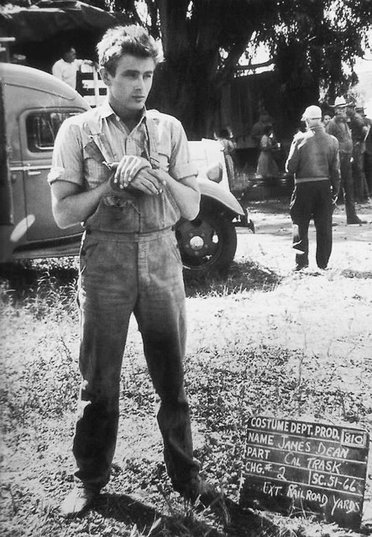 James Dean on the set of East of Eden, 1954