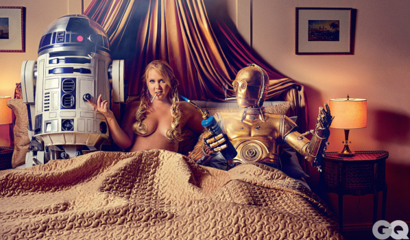 Lucasfilm and STAR WARS fans get a little uptight over racy Any Schumer GQ photo spread involving a sexual situation with C3P0 and R2D2 http://mashable.com/2015/07/17/amy-schumer-star-wars-disney/?utm_cid=mash-com-fb-main-link