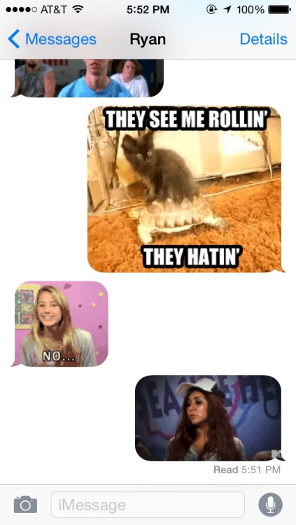 Ryan and I now only text via the gif keyboard.