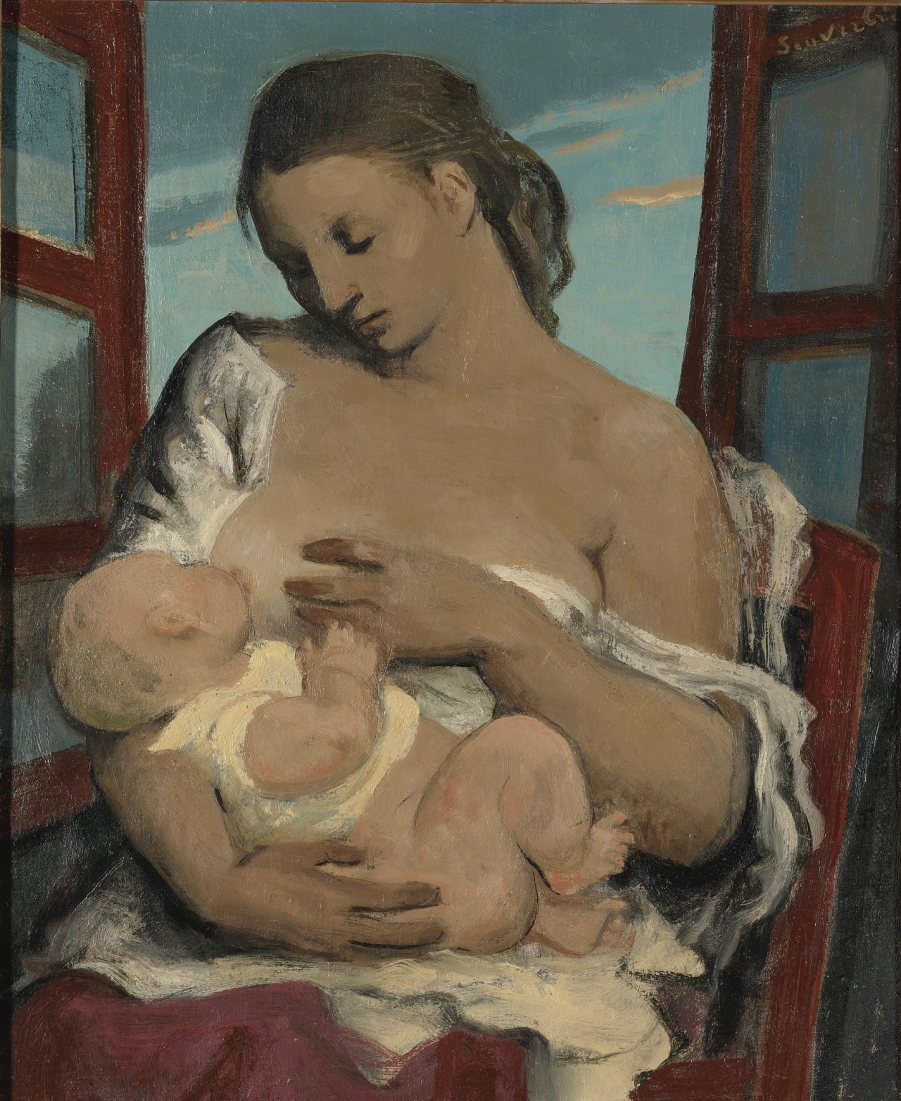 arttester:  Jean Souverbie (French, 1891-1981)  MOTHER AND CHILD