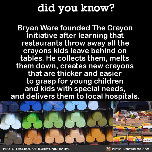 "From The Crayon Initiative website:  ""The wax from crayons is not biodegradable and will never break down, leaving a waxy sludge in our landfills for centuries to come. The Crayon Initiative supports environmental efforts by diverting crayons from the landfills.""""Annually, between 45,000 and 75,000 pounds of broken crayons are discarded in landfills throughout the country. By collecting unwanted crayons from restaurants, schools, as well as other locations, and recycling them into new ones, The Crayon Initiative is doing our part to prevent crayons from depositing in the landfill."" Here's how you can help out by spreading the word or collecting crayons from schools and restaurants in your town.Source"