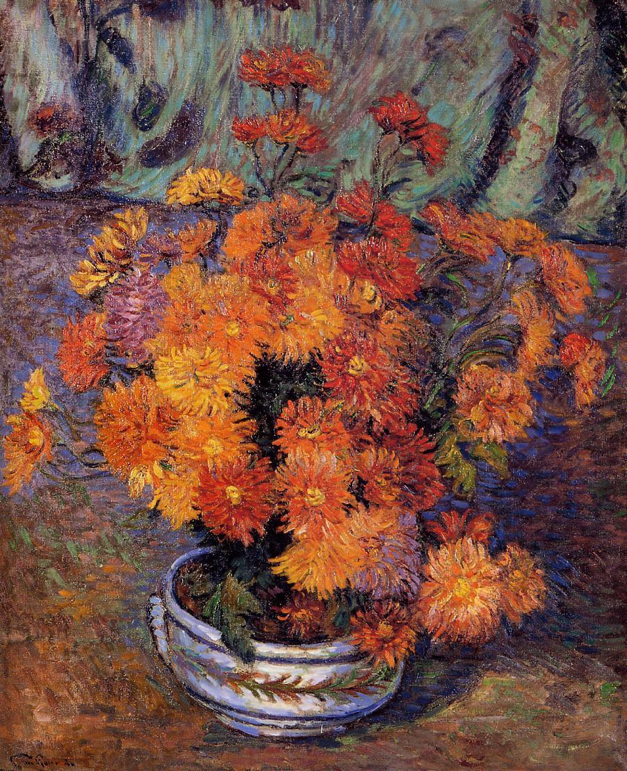 artishardgr:  Armand Guillaumin - Vase of Chrysanthemums 1885