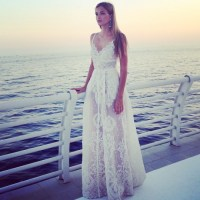 white lace evening gown