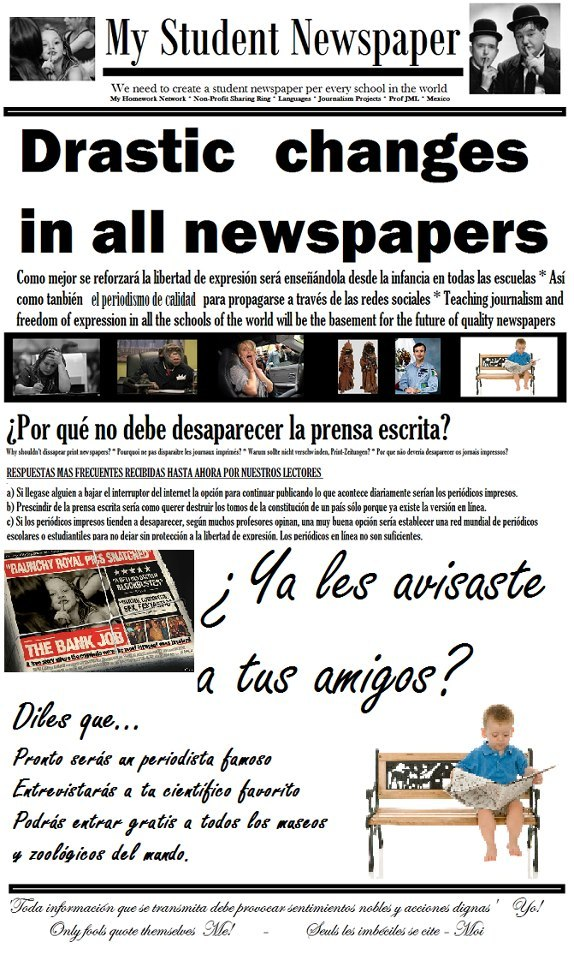 Crear un periódico desde cada escuela en el mundo * Create a newspaper from every school in the world * Erstellen Sie eine Zeitung aus jeder Schule in der Welt * Créer un journal de chaque école dans le monde * Creare un giornale per ogni scuola del mondo * Criar um jornal de cada escola no mundo * Создание газеты от каждой школы в мире