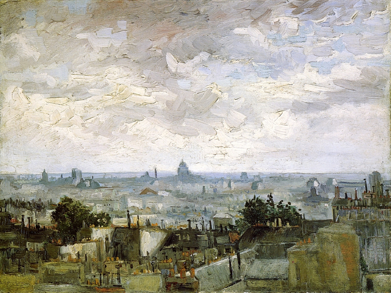 lionofchaeronea: The Roofs of Paris, Vincent van Gogh, 1886