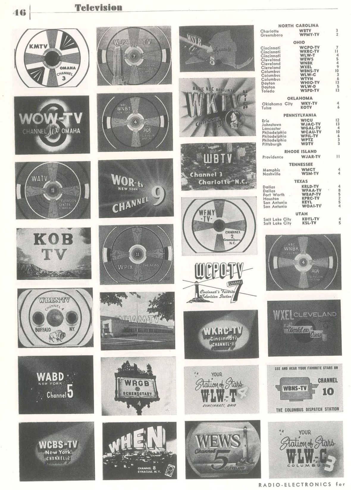 'TV Station List' - page 3 of 4 - published in Radio-Electronics - January 1951