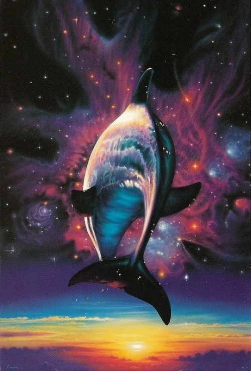 Cosmic dolphin. Artwork by Christian Riese Lassen. (1/6)