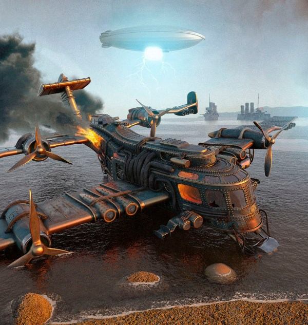 Illustration Concept Art Steampunk Environment Airship Steam Punk Dirigible
