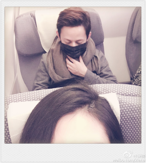 Xie Na and He Jiong on the plane