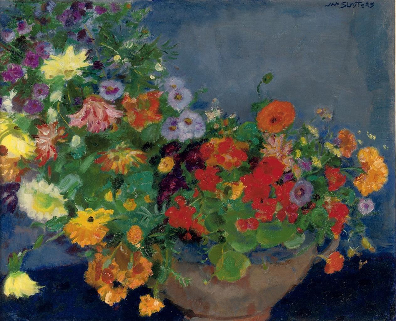thunderstruck9: Jan Sluijters (Dutch, 1881-1957), Colourful flowers. Oil on canvas, 60 x 72.5 cm.
