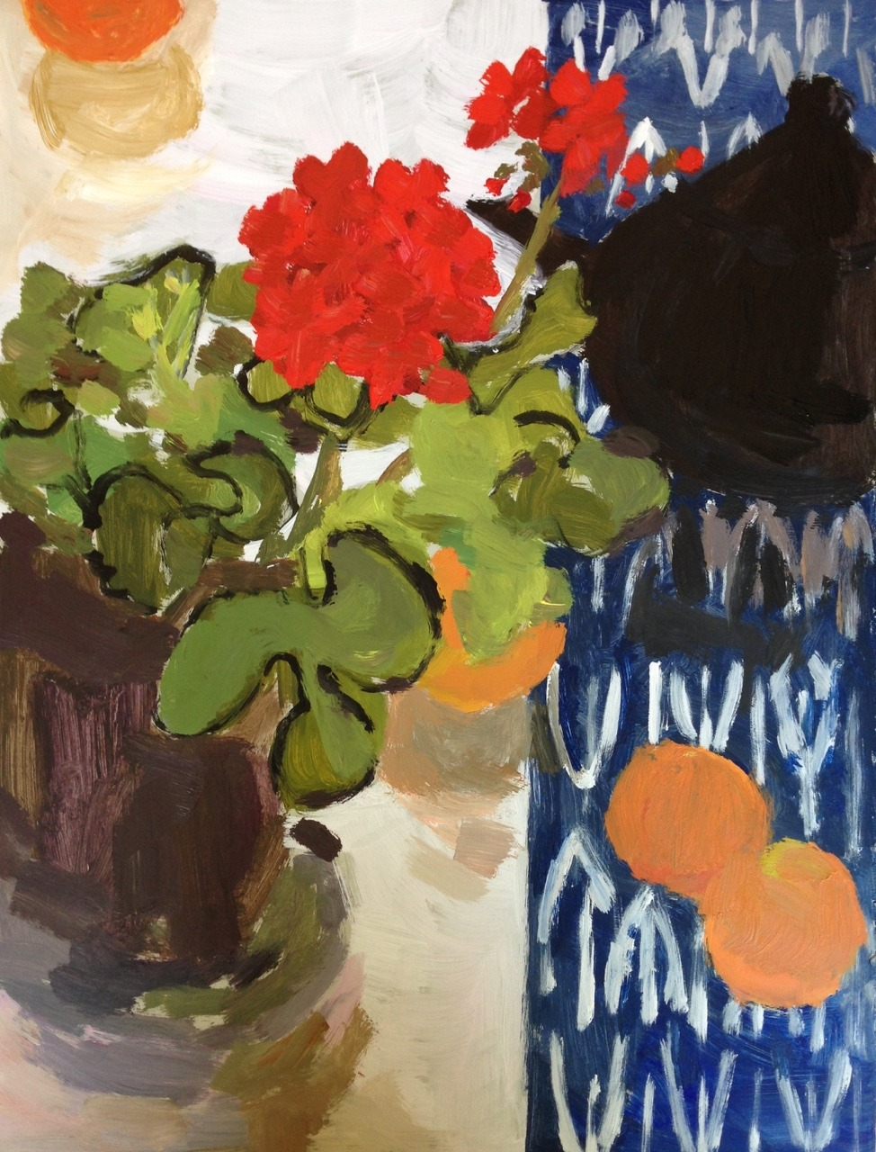 ngruskin:</p> <p>Nancy Gruskin, Still Life with Geraniums,  12&quot; x 16&quot;, acrylic on panel, 2015.