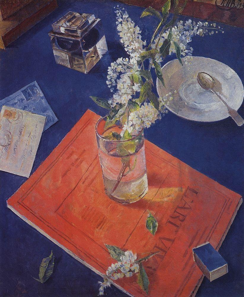 art-centric:  Bird cherry in a glass Kuzma Petrov-Vodkin, 1932
