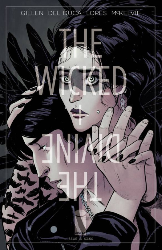 The Wicked + The Divine #16 annotations:Cover B: Leila Del DucaThe alternative cover depicts the Morrigan hovering protective and comforting over a detached Baphomet. The touch of pink in the grey palette softens and humanizes the pair. She gazes straight out at the reader, like she did the first time we saw her.Bap looks gloomily down and away. His open, passive hand creates a tension between acceptance and rejection. The alternative covers for the arc are sharply on point.