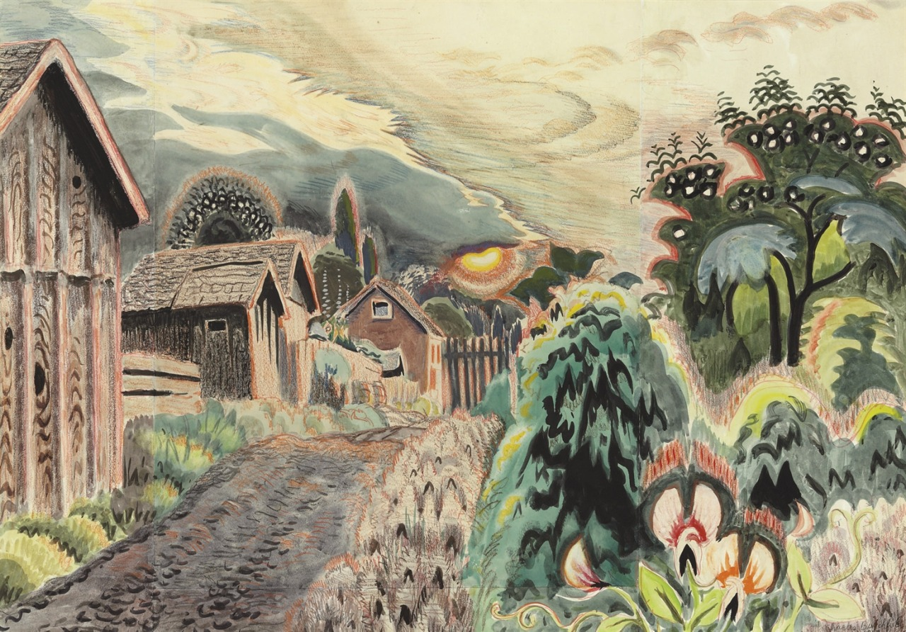 thunderstruck9:  Charles Burchfield (American, 1893-1967), Sweet Pea Mood, 1917. Watercolor and crayon on paper laid down on board, 26¼ x 36½ in.