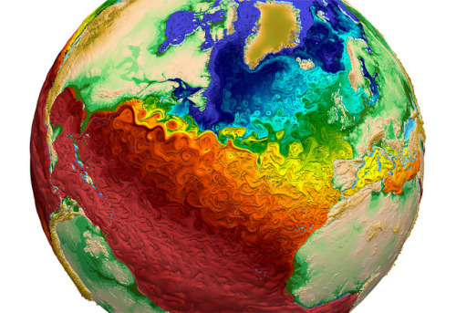 This visualization depicts global water-surface temperatures, with the surface texture driven by vorticity. Cool temperatures are designated by blues and warmer temperatures by reds.