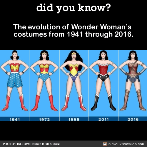 The evolution of Wonder Woman's  costumes from 1941 through 2016.  Source