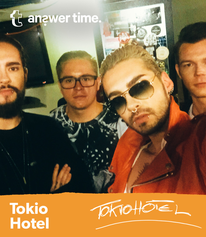 tokio hotel is taking over my tumblr thursday 8/13 at 2pm est, submit your questions here ✨