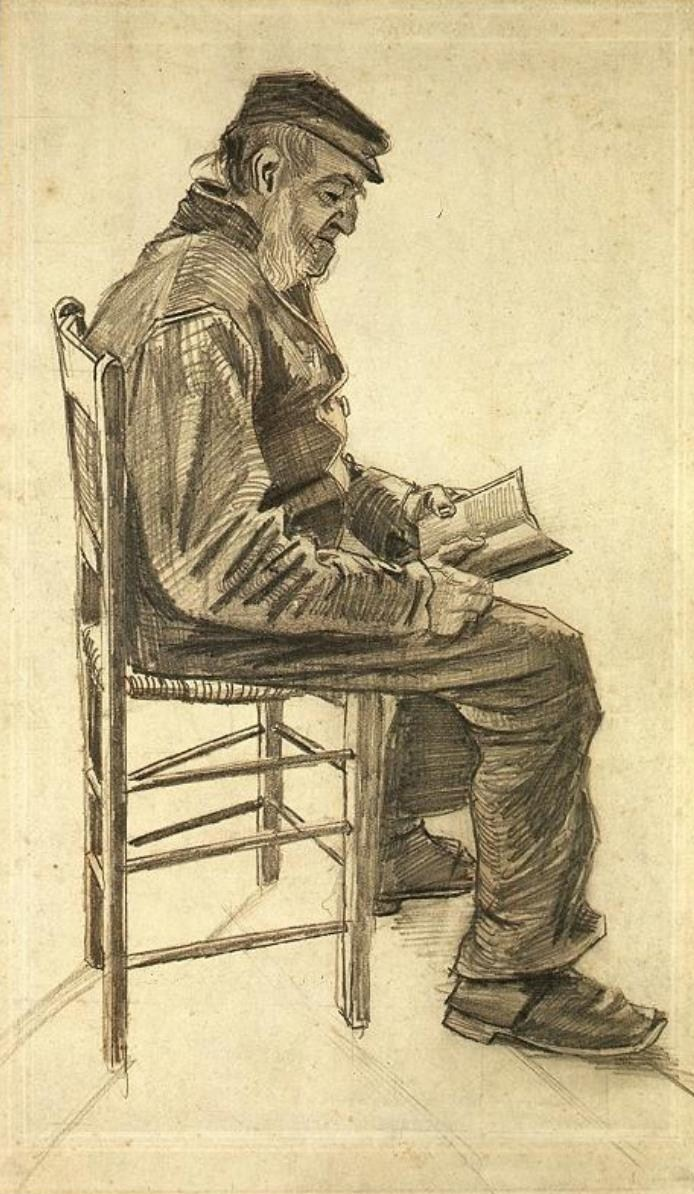 urgetocreate: Vincent van Gogh, Old Man Reading, 1882