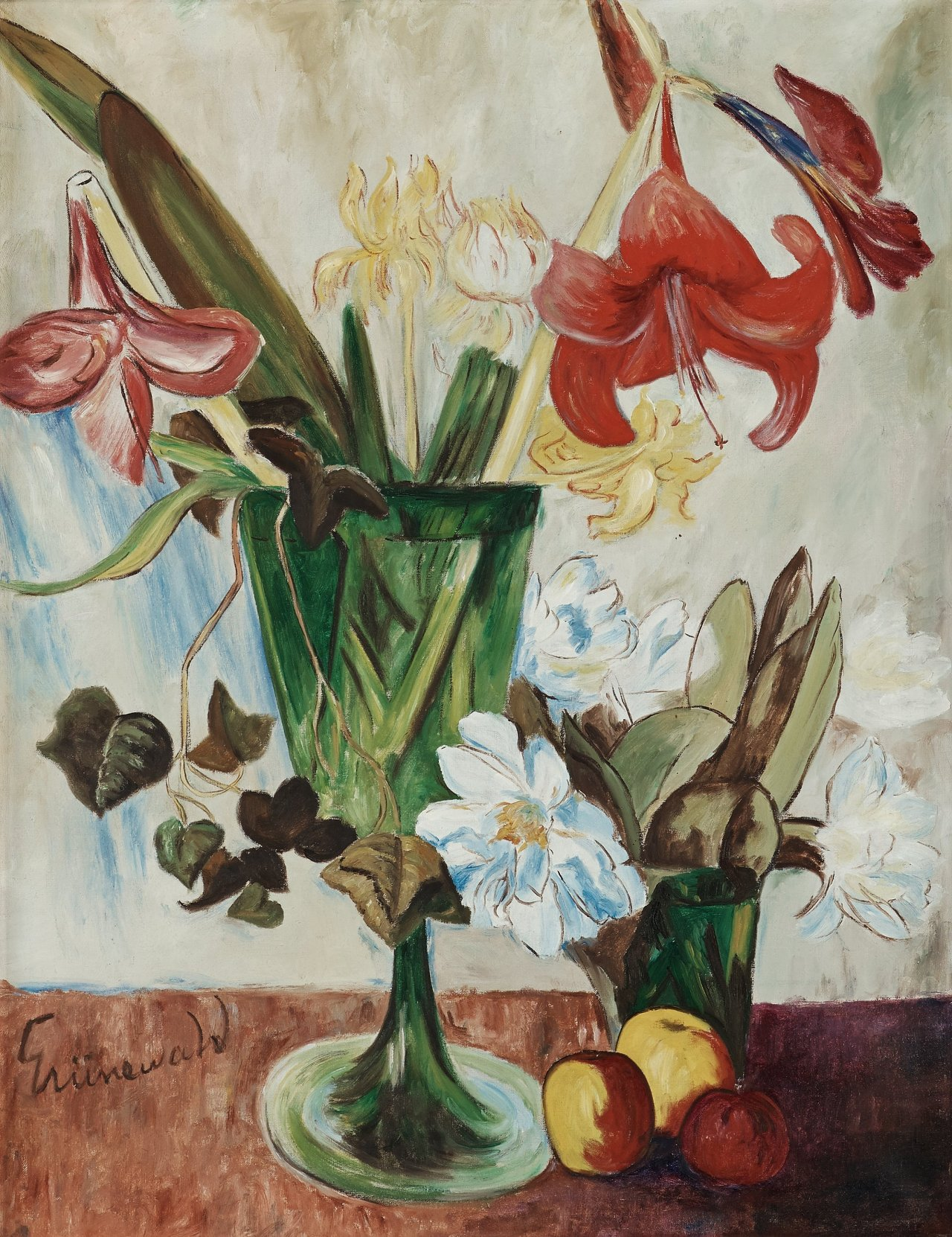 thunderstruck9: Isaac Grünewald (Swedish, 1889-1946), Still life with amaryllis and apples. Canvas, 90 x 71 cm.