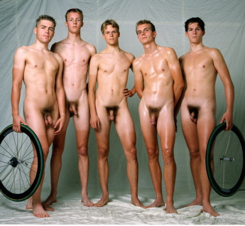 Straight male nude group are
