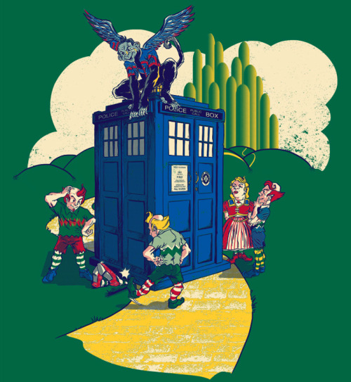 Image of the TARDIS landed on the Wicked Witch of the East, on the Yellow Brick Road, with Emerald City nearby. Doctor Who meets Wizard of Oz.