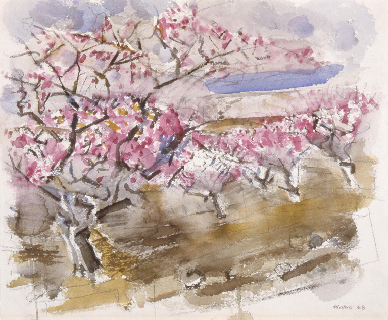 yama-bato:John Marin (American, 1870–1953)Peach Trees in Blossom No. 3 (Saddle River District, New Jersey), 1948Watercolor over charcoal on paper165/8 x 191/2 in. (42.23 x 49.53cm)http://collection.mam.org/details.php?id=15975
