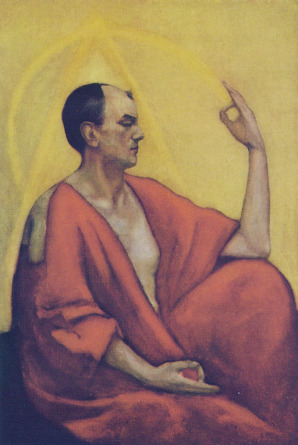 This is a painting of Aliester Crowley by Leon Kennedy. Leon Kennedy signature style was to paint the auras of occult sensitive people around their portrait. I find this particularly interesting as a witch artist.