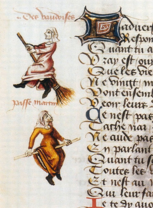 heracliteanfire:</p> <p>'Marginalia of the earliest known illustrated example of a witch on a broomstick in the 1451 manuscript, Hexenflug der Vaudoises (Flight of the Witches), authored by Martin Le France (1410-1461).' (via Letterology: Halloween Heresy)<br />