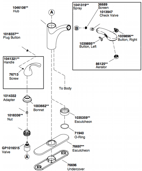 Kohler K-10433 Kitchen Faucet Parts Diagram