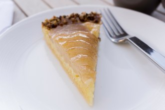 pear pie closeup from stem