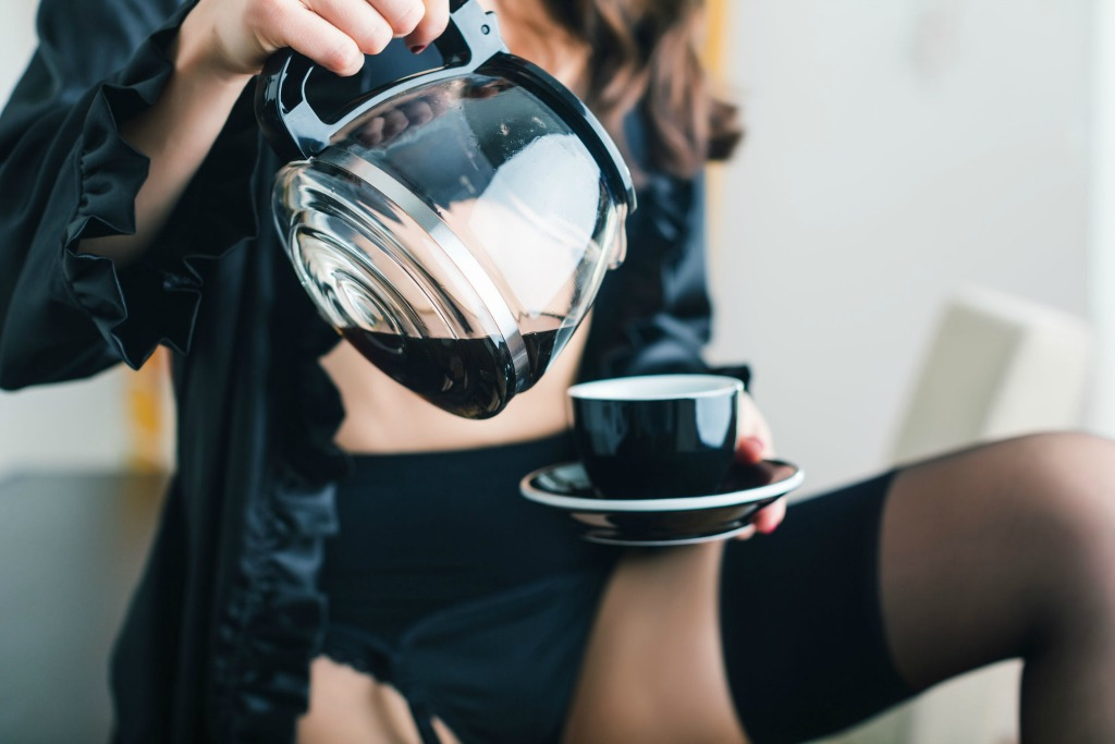 Woman Black Lingerie Having Cup of Coffee