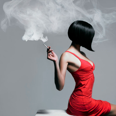 Art Portrait Woman Red Dress Smoking