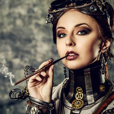 Gorgeous seductive woman smoking
