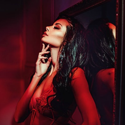 Gorgeous Brunette Sensual Red Light