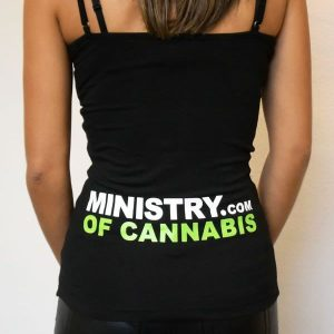 Ministry of Cannabis black cotton with logo women's tank. Ministry of Cannabis coupon codes