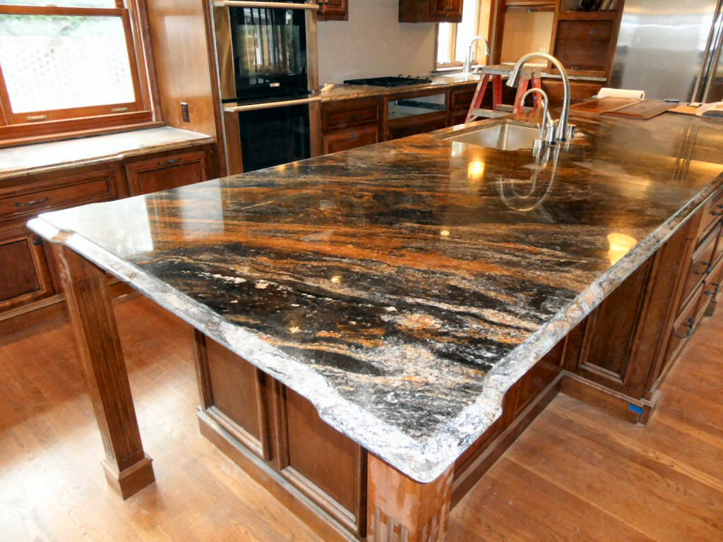 kitchen island marble top black trash bags renovation projects
