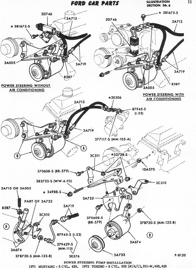 detailed power steering bracketry installation diagram