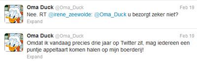 Donal Duck op twitter: interactie